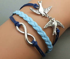 bracelet, blue, and bird image