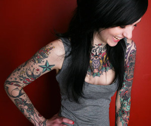 black, girl, and tattoo image