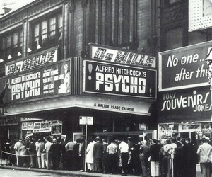 Psycho, black and white, and alfred hitchcock image