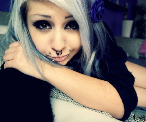 emo, girl, and piercing image