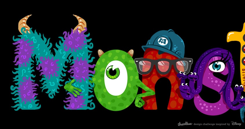 Score Monsters Inc Characters Typography Threadless