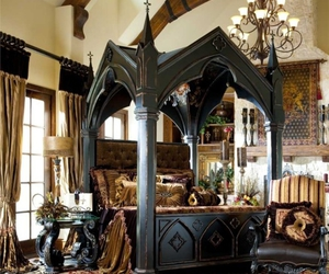 bedroom, bed, and gothic image