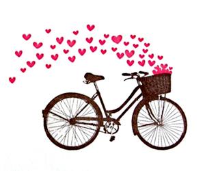 love, hearts, and bike image