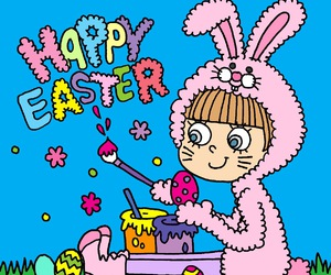 bunny, illustration, and easter image