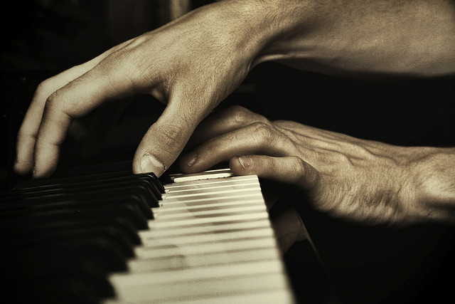 art, hands, and piano image