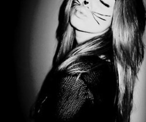 girl, cat, and black and white image