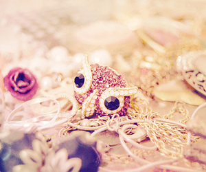 owl, jewelry, and pink image