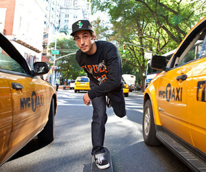 boy, skate, and taxi image