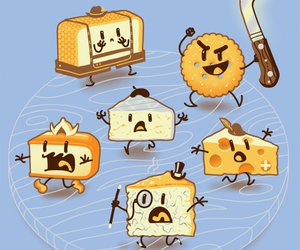 cheese, food, and illustration image