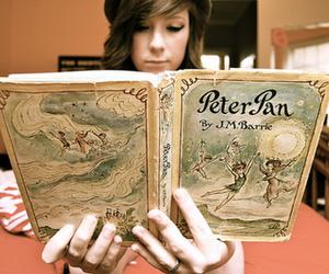 peter pan, book, and girl image