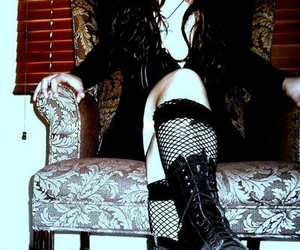 black, boots, and chair image