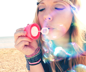 girl, bubbles, and blonde image