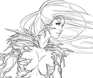 lineart, sketch, and witchblade image