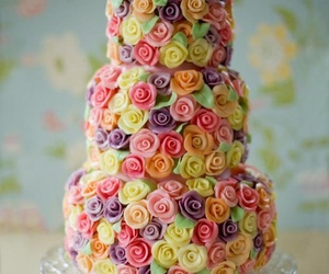 cake, rose, and flowers image