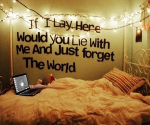 bed, notebook, and world image