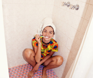 girl, shower, and smile image