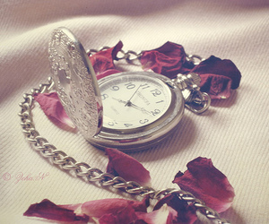 clock, rose, and watch image