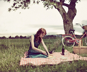 girl, picnic, and bike image