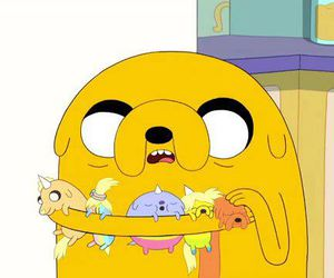 JAKe, adventure time, and baby image