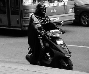 bus, darth vader, and scooter image