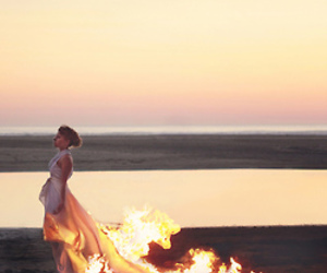 fire, girl, and dress image