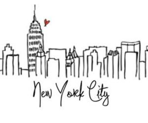 city, new york, and drawing image
