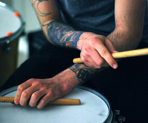 drum, sticks, and tattoo image