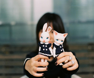 bunny, cat, and cute image