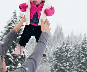 baby, pink, and snow image