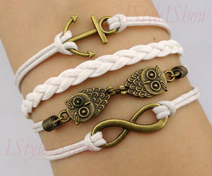 owl, bracelet, and infinity image