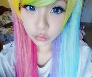 hair, purple hair, and pastel goth image