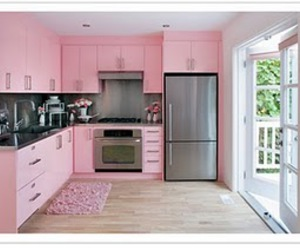 pink and kitchen image