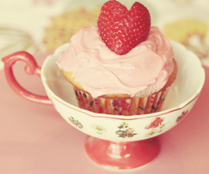 cupcake, strawberry, and pink image