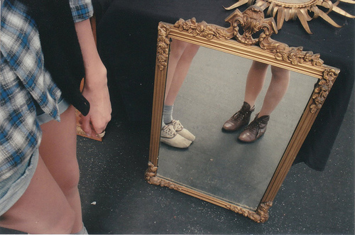 shoes, girl, and mirror image
