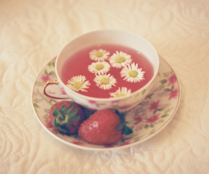 strawberry, flowers, and tea image