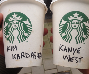 starbucks, kanye west, and kim kardashian image