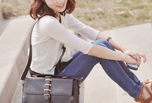bag, hair, and blouse image