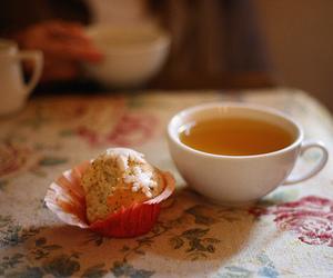 cupcake, sweet, and tea image