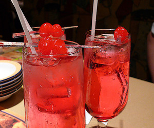 drink, cherry, and pink image