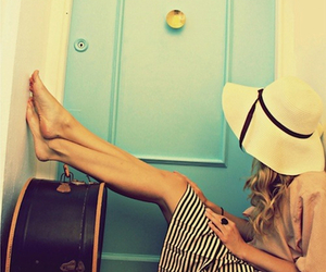 girl, hat, and travel image