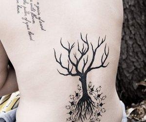 back tattoo, tattoo, and tree image