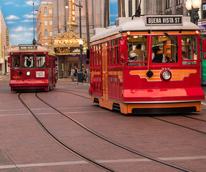 disney, disneyland, and trolley image