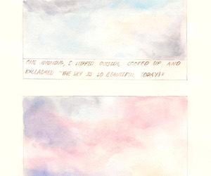 sky, text, and watercolour image