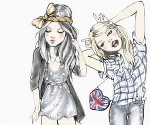 girl, friends, and drawing image