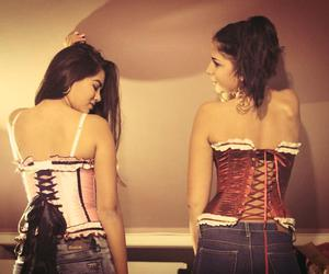 corset, fashion, and jeans image