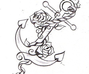 tattoo, anchor, and rose image