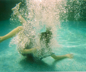 girl, pool, and water image