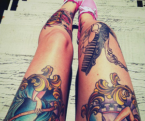 tattoo, legs, and pink image