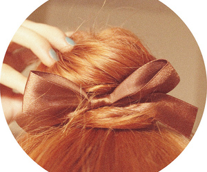 red hair, bow, and bun image