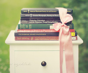 book, bow, and pink image